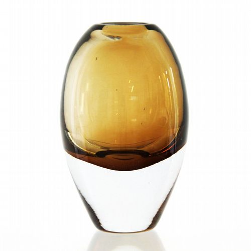 Belgian Glass Vase - Tall - Amber